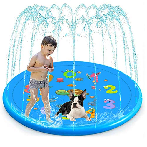 Kids Outdoor Swimming Pool Toy for Baby Toddlers, Kiddie Pool Water Toy, Fun Sprinkle and Splash Play Mat, Blue