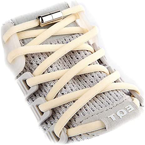 NEW No Tie Lace Lock for Shoes with Elastic Shoelaces for Adults Kids Elderly 3 pairs beige product image