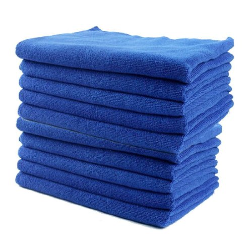 TMODD Lot de 10 chiffons de nettoyage super doux en microfibre lavables pour voiture, moto, appareils ménagers, usage industriel (bleu)