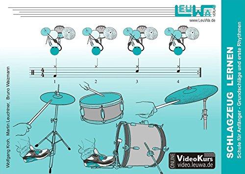 Schlagzeug lernen, Schule für Anfänger: Grundschläge und erste Rhythmen (Hefte für Percussionsinstrumente)