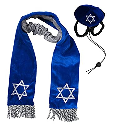 Kyjen Hanukkah Hat and Tallis Holiday Accessory for Dogs, Blue