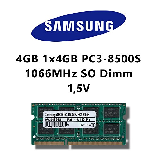Samsung 4 GB 1 x 4 GB DDR3 1066MHz PC3 8500S SO Dimm