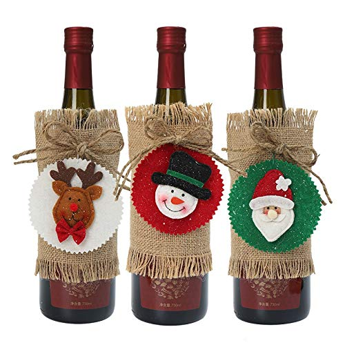 ZHANMAUU Christmas Socks Santa Clause Snowman Linen Champagne Christmas Bottle Covers Red Wine Bottle Covers Bag Christmas Party Home Decors 3pcs 1026
