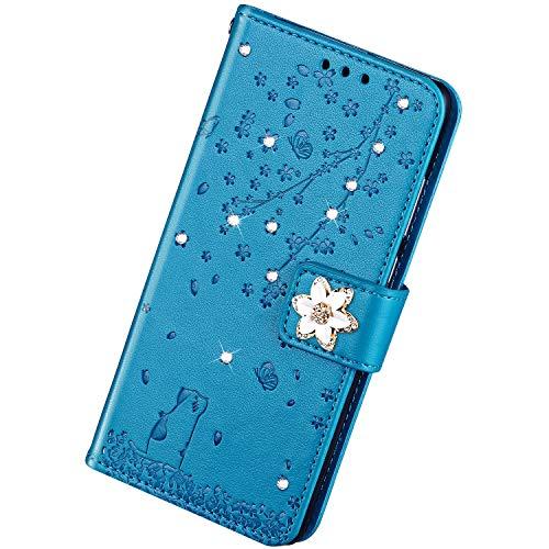 Herbests - Funda de piel para Samsung Galaxy J7 2018 (compatible con Samsung Galaxy J7 2018), Poliuretano y silicona TPU., azul, Samsung Galaxy J7 2018