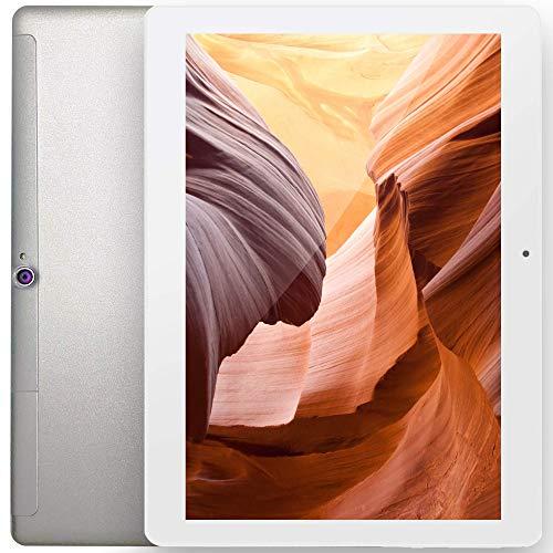 FGZ Tableta X10 Pro 10.1'' Tableta con Android 10.0, 4 RAM/64GB ROM Ampliable hasta 128 GB Ultra-Rápido con 4G LTE Dual SIM & Tarjeta TF, WiFi Bluetooth, Blanco