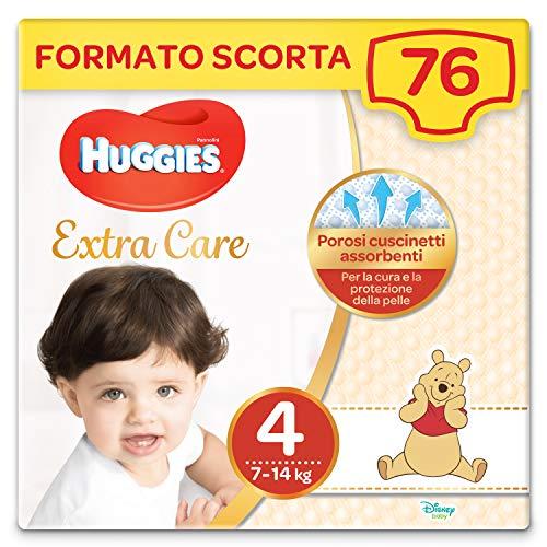 Huggies Extra Care Grande Taglia 4 (7-18Kg), 2 Confezioni da 38 Pannolini, 2480 Gr