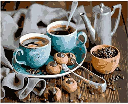 LSDEERE Leinwand DIY Malen Nach Zahlen Kaffee Malen Nach Zahlen Für Erwachsene Anfänger Kreatives Gemälde Auf Leinwand 40Cm*50Cm