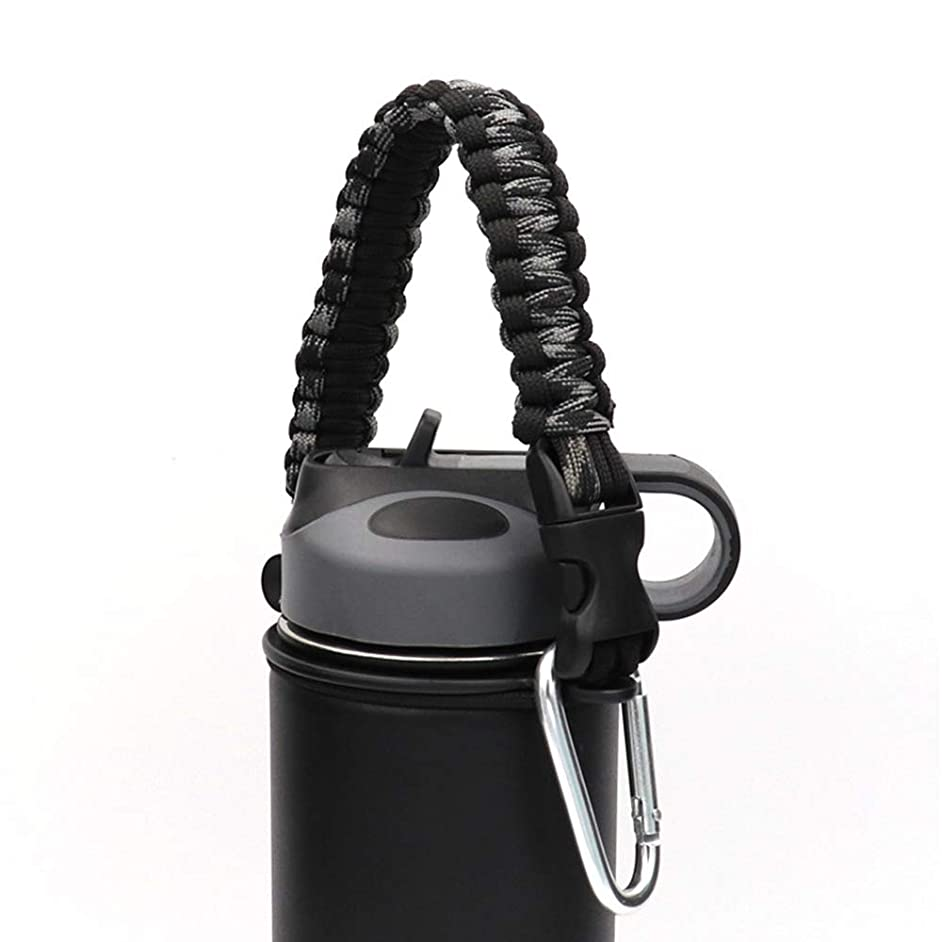 Paracord Handle Paracord Carrier Survival Strap Cord with Safety Ring and Carabiner for Flask Hydro Wide Mouth Water Bottles Strap Carrier