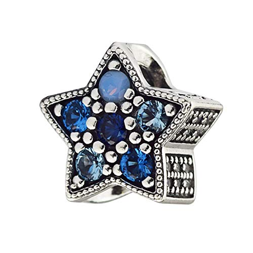 Joyería De Plata De Ley 925 para Mujer Abalorios De Estrella Brillante Se Ajustan A Pulseras Pandora Europeas Collares Fabricación De Joyas DIY