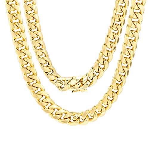 "Nuragold 10k Yellow Gold 9mm Miami Cuban Link Chain Necklace, Mens Wide Jewelry Box Clasp 20"" 22"" 24"" 26"" 28"" 30"""