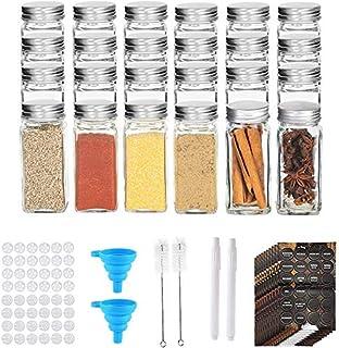 RUBY Pot A Epices En Verre Bocaux Epices Avec Etiquettes,120ML Bocal Epices Set Epices Cuisine Rangement Pots Depice Kit (24)
