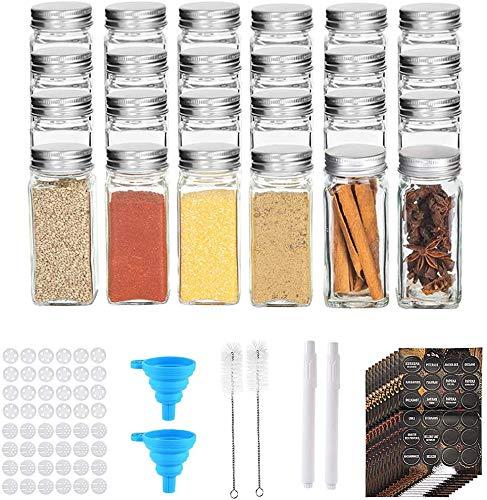 Tarros de Cristal con Tapa 24pcs, Tarro de Especias 120ML, Tarros de Cristal Pequeños de 3.4 oz Botes Cristal Cocina para el Almacenaje de Organizador Especias, También para Decoración Hogar (24)