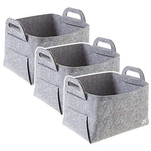 収納ボックス 折り畳み 取っ手付き 小物入れ フェルト生地 おしゃれ 北欧 衣類 クローゼット インテリア 日用雑貨 (グレー(3個セット))