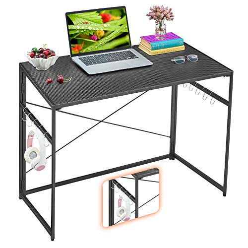 "Mr IRONSTONE 31.5"" Folding Computer Desk, Small Writing Desk Easy Assembly with 10 Hooks, Foldable Metal Frame, Writing Workstation Laptop Table for Home Office (Textured Carbon Fiber Black)"