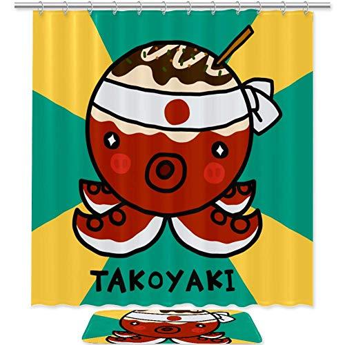 TIZORAX Japanisches Essen Takoyaki Octopus Bad Duschvorhang Set mit rutschfesten Badteppichen Bodenmatte Home Decoration