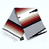 Heather Gray Mexican Yoga Blanket -- Thick Grey Navajo Diamond Blanket with Camel, Tan Brown, & Rust Orange Red Clay Stripes