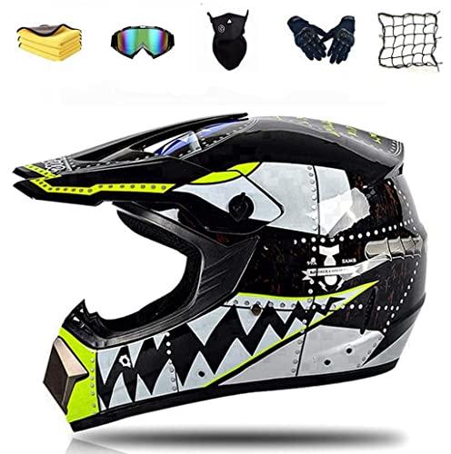 Juego de casco de motocross, casco completo para bicicleta de montaña o descenso, con 4 tamaños diferentes de forro interior, para niños de 6 a 14 años (#G)