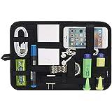 JOTO 電子機器オーガナイザー 旅行ギア 管理 整理バッグ 電子機器アクセサリーツール ハードドライブ メモリーカード フラッシュドライブケーブル 充電器 化粧品 ブラシ パーソナルケアキット Lサイズ ブラック