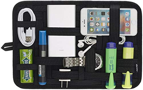 Elektronik Organizer, JOTO Travel Management Organisieren Tasche für Elektronik Zubehör Werkzeuge Festplatte Speicherkarte Flash Drive Kabel Ladegerät Kosmetik Personal Care Kit - Groß,Schwarz
