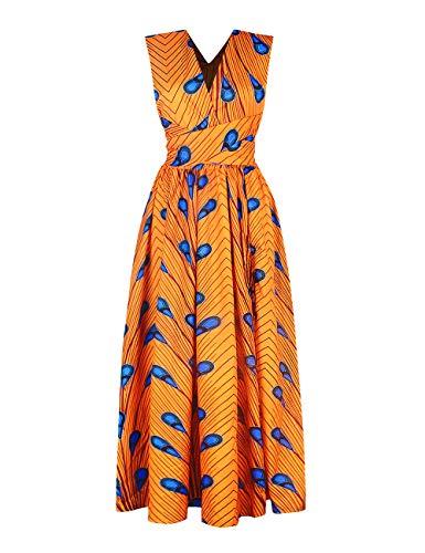 SOMTHRON - Vestito da donna in stile etnico, maxi abito africano con spalline e fiori Arancione-2 S