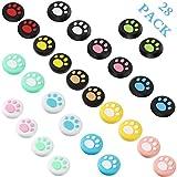 28 gommini di ricambio con simpatico disegno di impronta di gatto, per rivestire la levetta del joystick, in morbido silicone, copertura compatibile con Nintendo Switch, Switch Lite e Joy-Con.