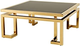 Art Deco Gold Coffee Table   EICHHOLTZ Palmer   Gold Metal Geometric Base Smoked Black Glass top Coffee Table for Living Room
