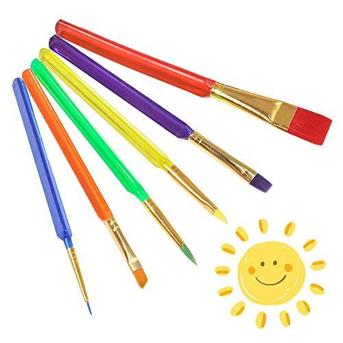 Pennelli da Pittura per Bambini, 6 Pezzi Colorato Pennello da Disegno Bambini Strumento di Pittura per Bambini, Pennelli per Bambini Set per Pratica Principianti artisti Scuola - Taglie Assortite
