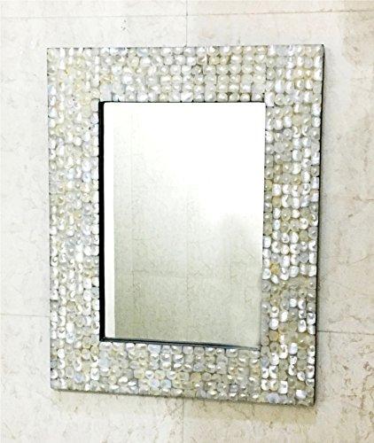 Espejo rectangular con incrustaciones de nácar para decoración de la pared de la madre del dormitorio