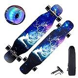43'Longboard Skateboard Double Kick Concave Deck Skateboard, 7 Kanadische Schichten Ahornholz Tanzbrett mit LED PU Rädern für Kinder Teenager & Erwachsene Anfänger,Elk, HSGAV