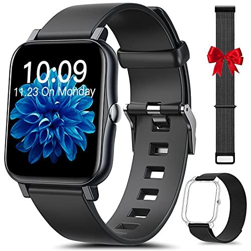 HLEIUKT Smartwatch, 1,7   Touch Screen Completo Orologio Fitness Uomo Donna Contapassi, Temperatura Corporea Sonno Cardiofrequenzimetro, Impermeabile IP68 Orologio Smart Watch per Android iOS, Nero