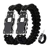 WEREWOLVES 2 Pack Paracord Knife Bracelet Tactical Survival Cord Bracelets, Multitool Survival Gear Emergency Knife for Hiking Traveling Camping, Best Gift for Men & Women (Black)