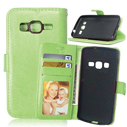 Qiaogle Telefono Case - Custodia in Pelle PU Basamento Custodia Protettiva Cover per Samsung Galaxy Core Prime G360 / G3606 (4.5 Pollici) - DK07 / Verde Stile di Affari di Modo