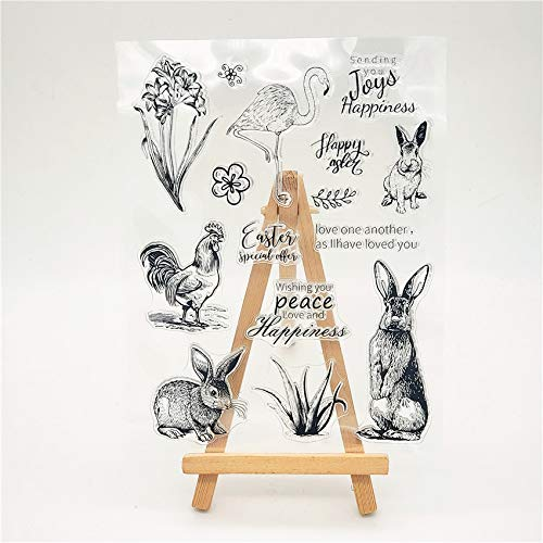 Welcome to Joyful 1pcs Happy Easter Rabbit Flamingo Clear Stamp for Card Making Decoration and Scrapbooking 15.5x11cm