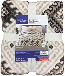 Better Homes and Gardens Velvet Plush King Blanket, Tan Print