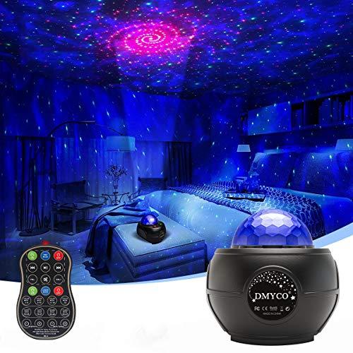 DMYCO Lampada Proiettore Stelle, Luce Notturna Bambini Proiettore a Luce Stellare, LED Lampada Musicale Romantica Cielo Stellato con Telecomando, Timer, Altoparlante, Bluetooth