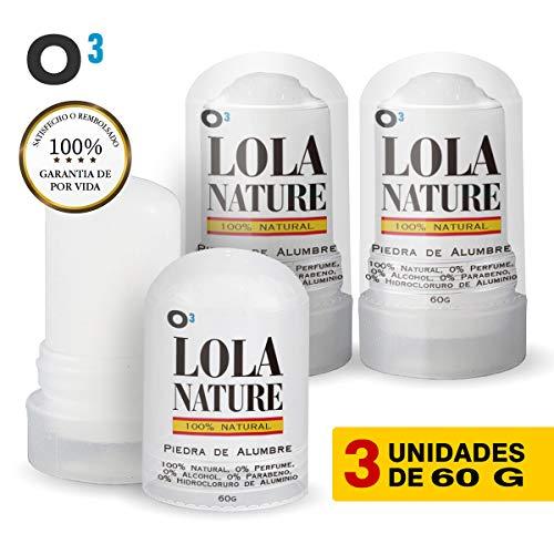 O³ Piedra De Alumbre Lola Nature - 3 Unidades * 60 g 100% Natural | Piedra Alumbre Desodorante Sin Aluminio Sin Parabenos | Eficaz Contra Los Cortes De Afeitado