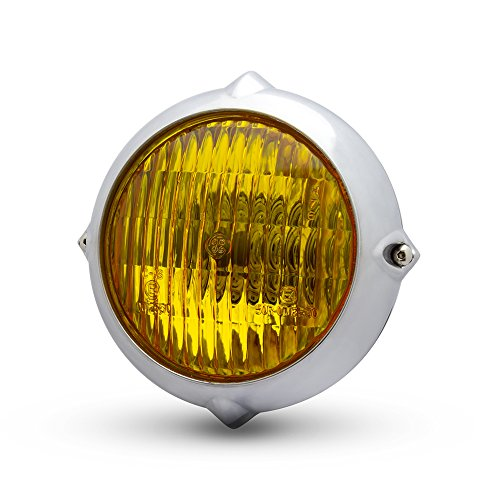 5,5 inch koplamp voor retro aangepast project; gepolijst met gele lenzen