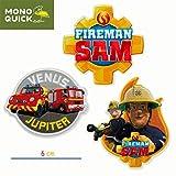 Mono-Quick 366 Fireman Sam - Juego de 3 parches para planchar o coser, poliéster, multicolor, MD, 3 unidades