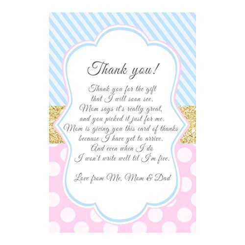 30personalizado tarjetas de agradecimiento azul rosa bebé ducha oro papel fotográfico
