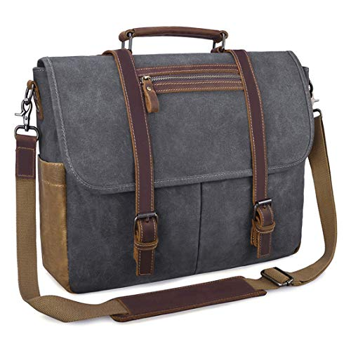 Mens Messenger Bag 15.6 Inch Waterproof Vintage Waxed Canvas Satchel Briefcase Shoulder Bag Retro Distressed Business Computer Laptop Leather Messenger Bag Grey