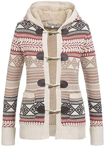 Styleboom Fashion Damen Cardigan mit Knebelverschluss Kapuze Teddyfutter gestreift beige schwarz, Gr:XXL
