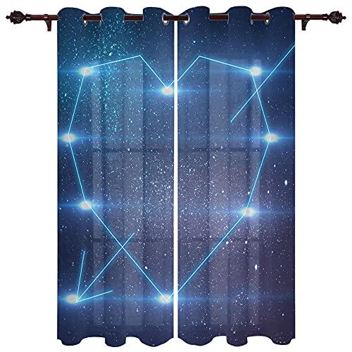Cortinas Opacas Galaxia En Forma De Corazón Opaca Cortina para Habitación Térmica Aislante Y Ruido Reducción 2 Unidades Impresión 3D Cortinas Termicas Aislantes 184×214Cm
