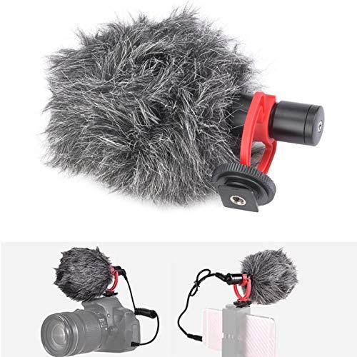 DAUERHAFT Micrófono de Condensador de teléfono con Cubierta de Parabrisas Micrófono de Condensador Adopta una Estructura de Metal para cámara DSLR para computadora Tableta para