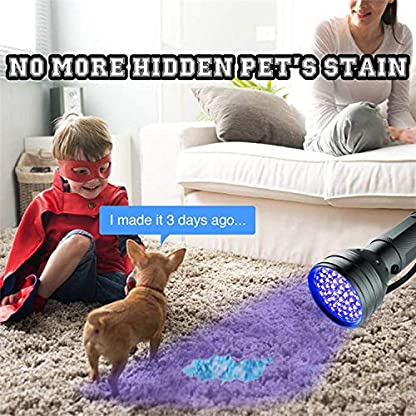 AOLOX Flashlight Black Light 51 LED Torch Light Ultraviolet Detector for Dog Urine Pet Stains and Bed Bug Housebreaking Use with pet odor eliminator 3