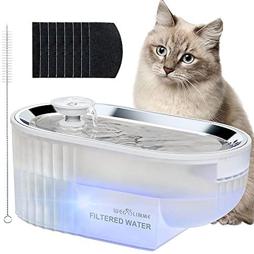 WEGOLIMME Fuente para Gatos Acero Inoxidable 2,5L Bebedero Gatos y Perros Automatico con 8 Filtros de Carbón Activado, Super Silenciosa, Inteligente LED Dispensador de Agua para Mascotas