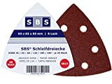 60 Velcro Sanding Triangles 93 x 93 x 93 mm Grain Each 10 x 40/60/80/120/180/240 for Tri-Base Sander 6 Holes by SBS
