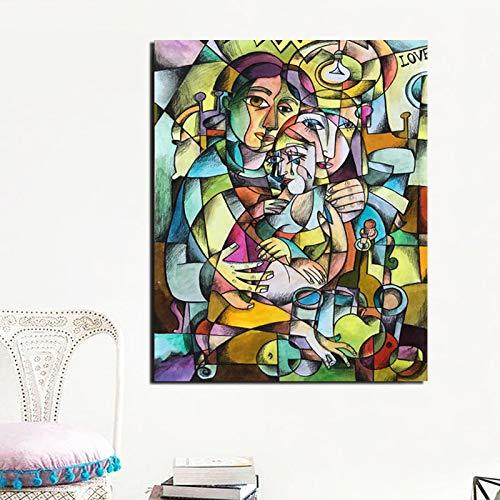 KWzEQ Berühmter Künstler Kubismus drucken Leinwand Malerei Wohnzimmer Hauptdekoration Moderne Wandkunst Ölgemälde,Rahmenlose Malerei,50x60cm