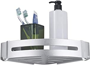 Shower Corner Caddy Bathroom Shower Corner Shelf with 2 Hooks, Self Adhesive with Glue or Wall Mount with Screws,Heavy Duty Aluminum 1/2/3 Tier Storage Shelves Triangle Baskets
