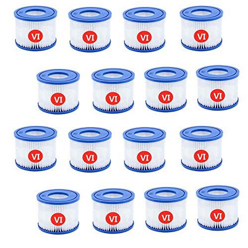 Mscomft VI Filter, Ersatzfilter Filterpatrone 6 für Bestway Schwimmbad,für Lay-Z-Spa für Miami Pool,für Vegas,für Schlauchreinigung - Größe 6-58323,58239,90352E (16 Stück)