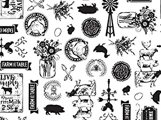 Printed Tissue Paper for Gift Wrapping with Design (Black & White Farmhouse Illustrations) - Decorative Gift Tissue Paper, 24 Large Sheets (20x30)